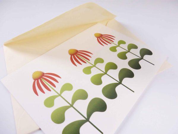 Postkaart Bloem Echinacea met enveloppe