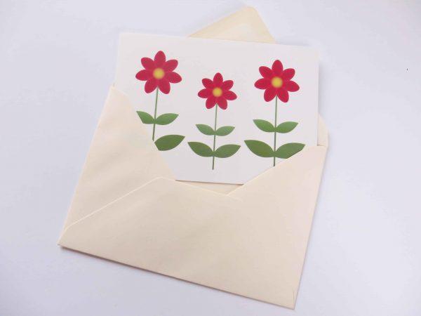 Postkaart Bloem Dahlia met enveloppe