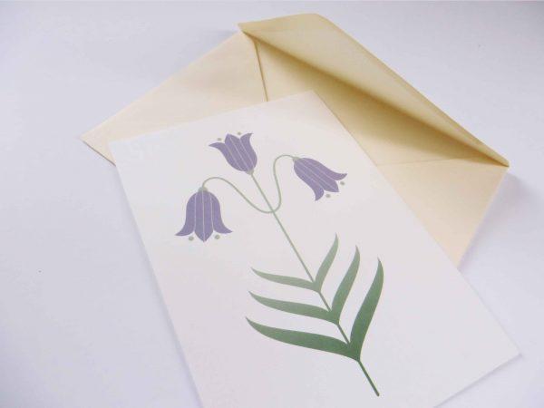 Postkaart Bloem Campanula met enveloppe