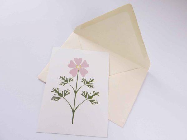Postkaart Bloem Malva met enveloppe