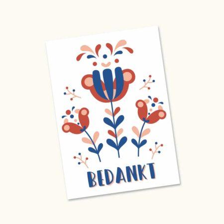 Wenskaart Folk bloem Ada