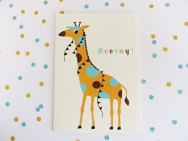 Wenskaart-giraf-liggend-confetti