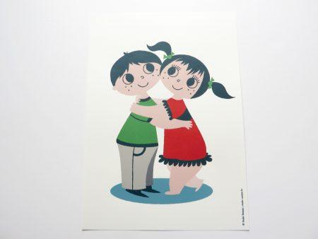 Big hug poster retro meisje en jongen knuffel