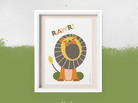 Poster retro leeuw