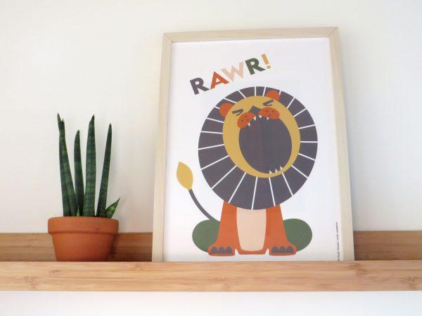 Roaring lion poster met retro brullende leeuw
