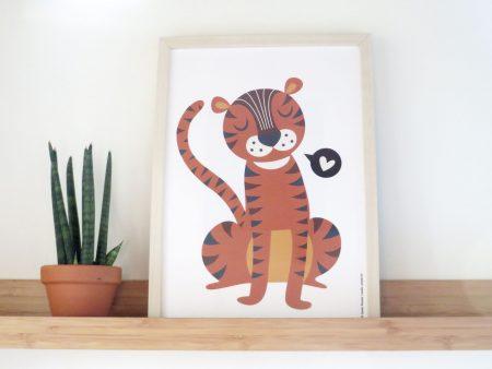Tiger love poster met lieve retro tijger