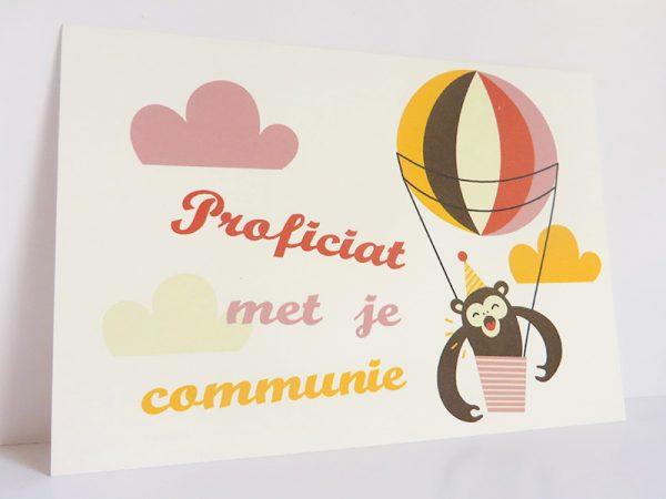 Aap-in-luchtballon-Wenskaart-communie-lentefeest