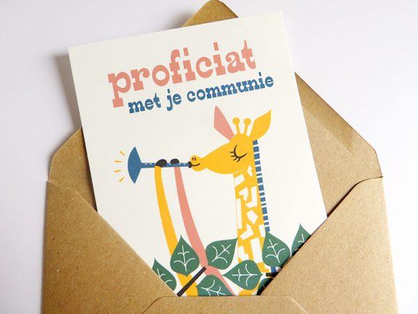 Giraf-speelt-deuntje-Wenskaart-communie-lentefeest-5