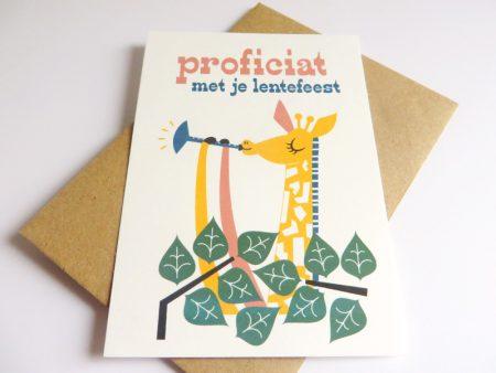 Giraf-speelt-deuntje-Wenskaart-communie-lentefeest-7