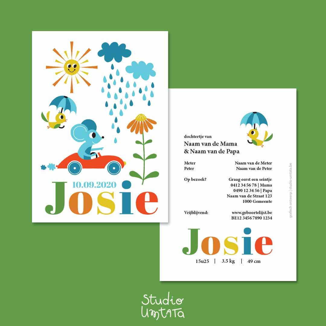 Retro geboortekaartje Josie Muis in auto 4