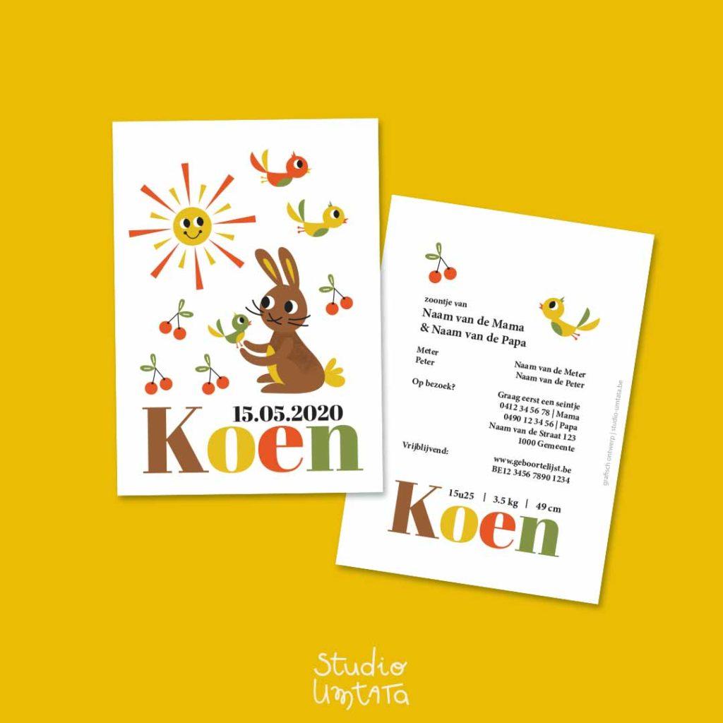 Retro geboortekaartje Koen met konijntje 2