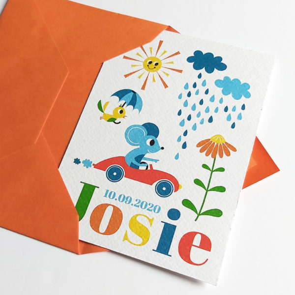 Retro geboortekaartje Josie Muis in auto