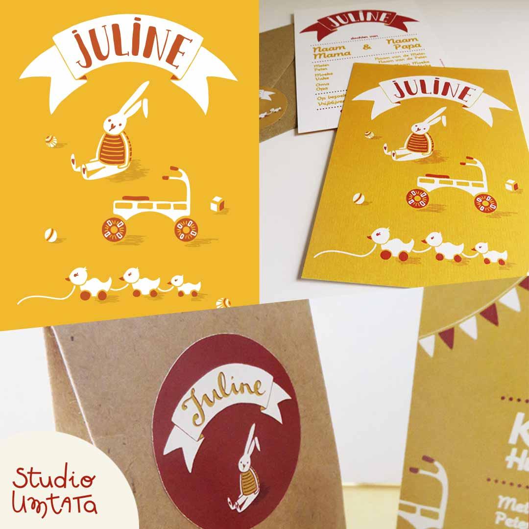 Geboortekaartje Juline op maat met illustratie van speelgoed