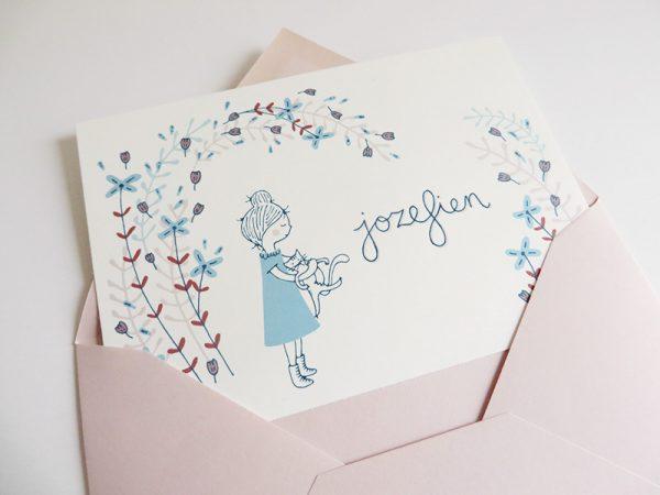 Roze envelop met geboortekaartje Jozefien