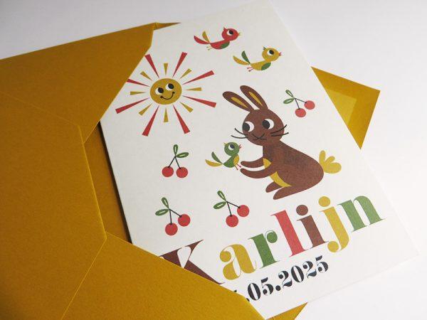 Gele envelop met geboortekaartje Karlijn