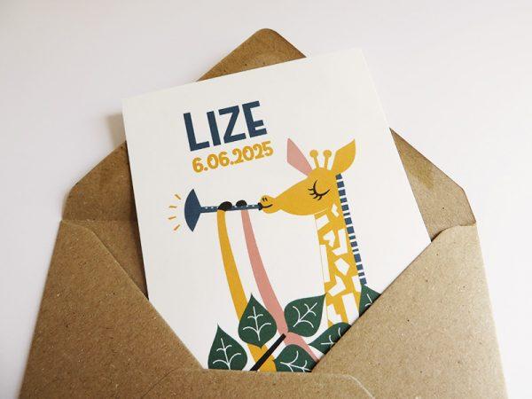 Gerecycleerde envelop met geboortekaartje Lize