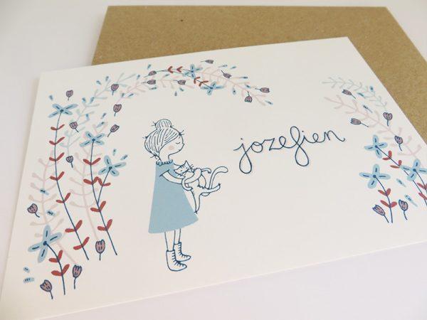 Geboortekaartje-Jozefien-Meisje-met-poes-en-bloemen-2