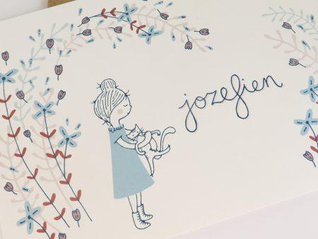 Geboortekaartje-Jozefien-Meisje-met-poes-en-bloemen-4