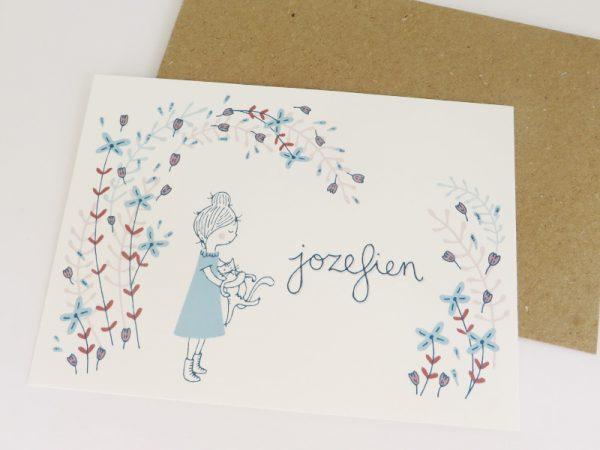Geboortekaartje-Jozefien-Meisje-met-poes-en-bloemen