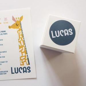 Geboortekaartje Lize en Lucas met giraf 3