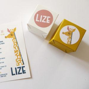 Geboortekaartje Lize en Lucas met giraf 7