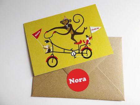 Geboortekaartje Nora Aap op een fiets 2