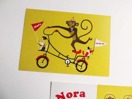 Geboortekaartje Nora Aap op een fiets 3