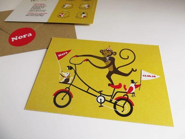 Geboortekaartje Nora Aap op een fiets 5