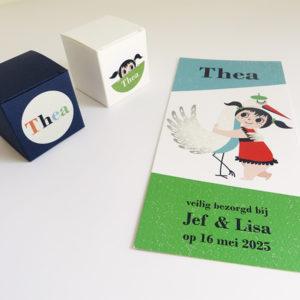 Geboortekaartje Thea Meisje met ooievaar 1