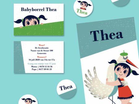 Retro geboortekaartje Thea met ooievaar