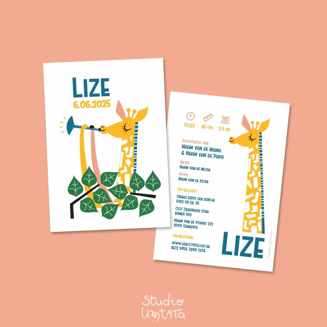 Lief geboortekaartje Met giraf