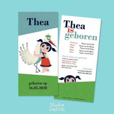 Retro geboortekaartje Thea met ooievaar 3