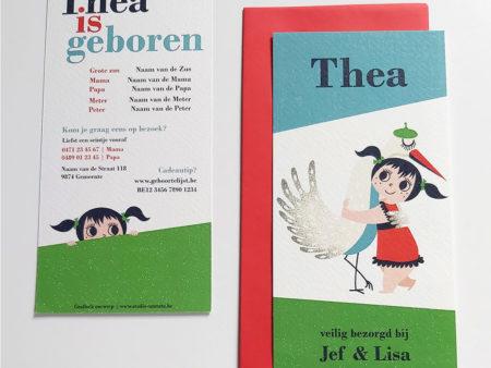 Retro geboortekaartje Thea met ooievaar 1