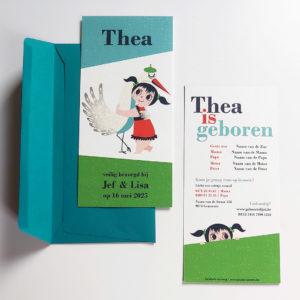 Retro geboortekaartje Thea met ooievaar 2