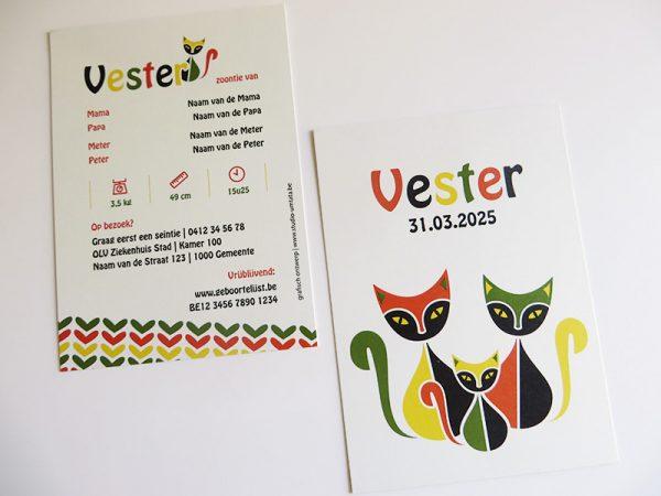 Geboortekaartje-Vester-met-retro-poezen-1