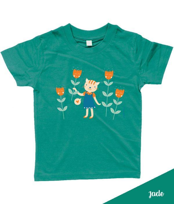 Schattig 'Flowers for you' T-shirt met poes en bloemen - Groen / Jade