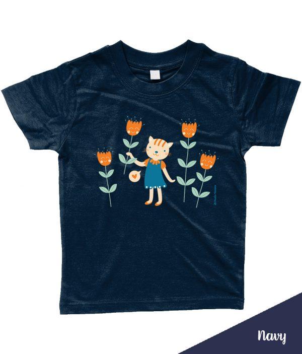 Schattig 'Flowers for you' T-shirt met poes en bloemen - Donkerblauw / Navy
