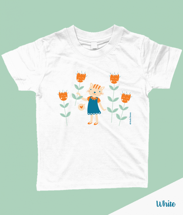 Schattig 'Flowers for you' T-shirt met poes en bloemen - Wit