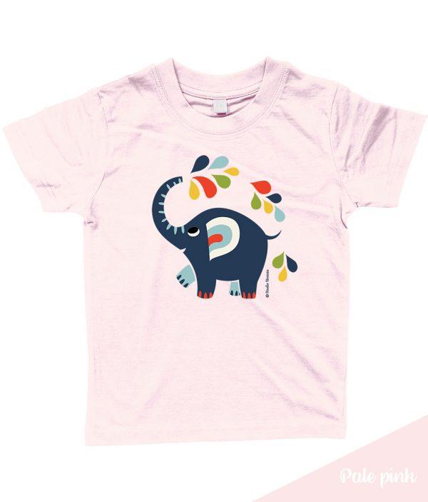 Kleurrijk 'Little elephant' T-shirt met vrolijke olifant - Roos