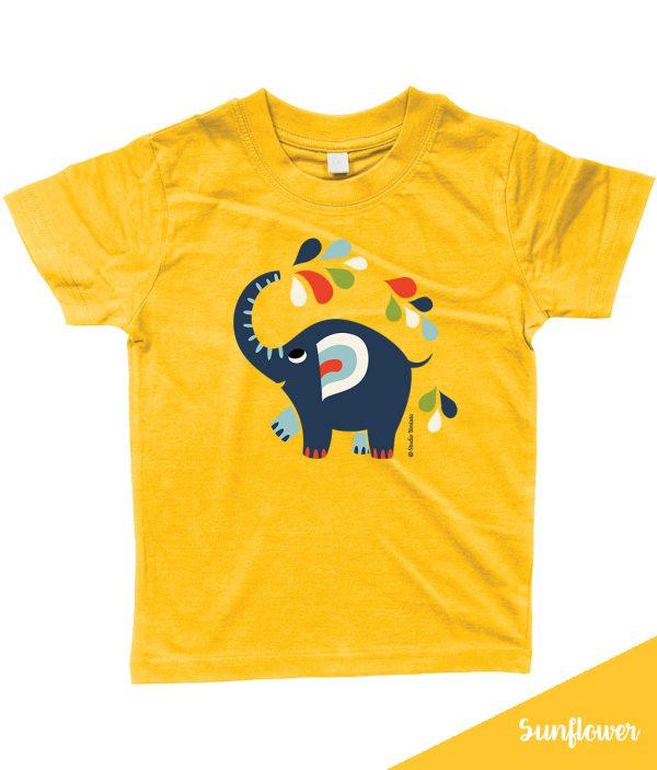 Kleurrijk 'Little elephant' T-shirt met vrolijke olifant - Geel