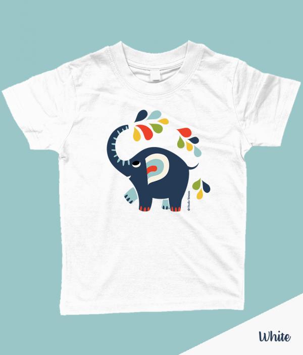 Kleurrijk 'Little elephant' T-shirt met vrolijke olifant - Wit