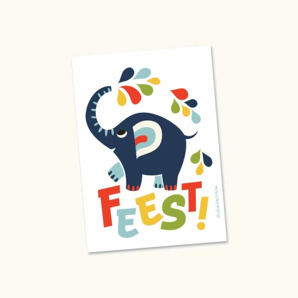 Wenskaart Olifant Feest