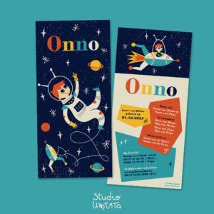 Retro geboortekaartje Onno astronaut ruimte raket