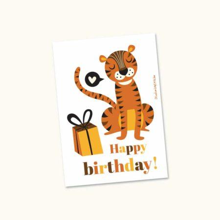 Wenskaart Tijger Happy birthday