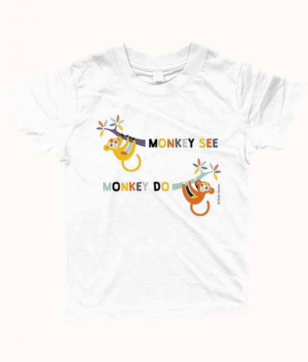 Grappig 'Monkey see monkey do' T-shirt met leuke apen - Wit