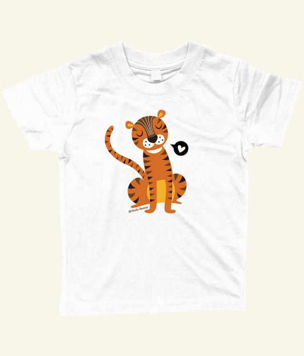 Retro 'Tiger love' T-shirt met lieve tijger - Wit