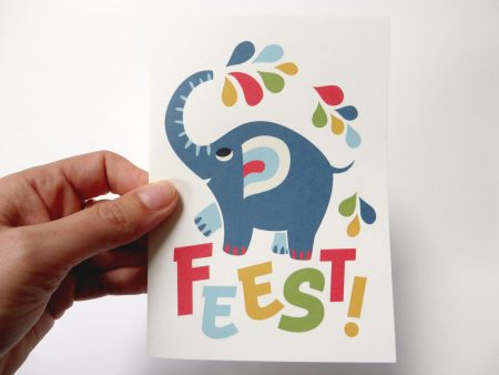 Greeting card Elephant Party Confetti