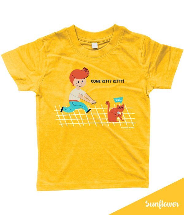Retro 'Come kitty kitty' T-shirt met peuter & poes - Geel