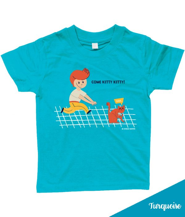 Retro 'Come kitty kitty' T-shirt met peuter & poes - Turquoise