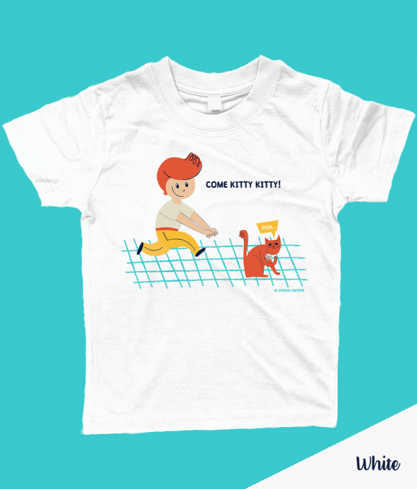 Retro 'Come kitty kitty' T-shirt met peuter & poes - Wit